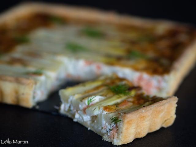 une Quiche asperges, saumon et aneth