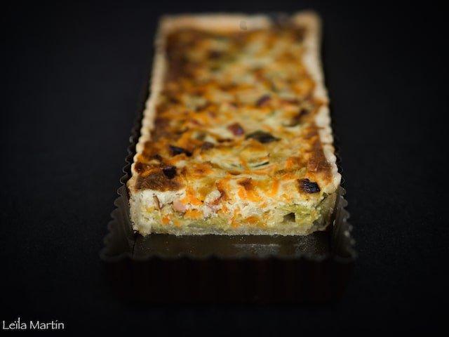 recette de quiche au poireaux, lardons, carottes et Bargkass