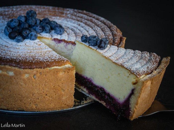 recette de la tarte au fromage blanc (Käsekuchen) aux myrtilles