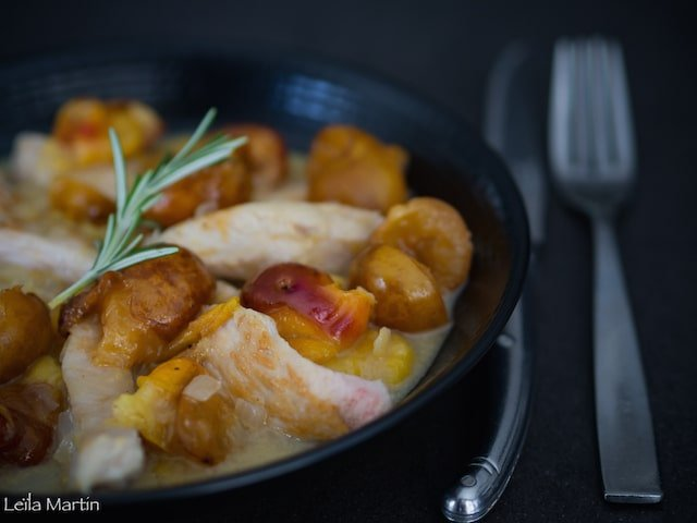 recette d'aiguillettes de poulet aux mirabelles et au Gewurztraminer