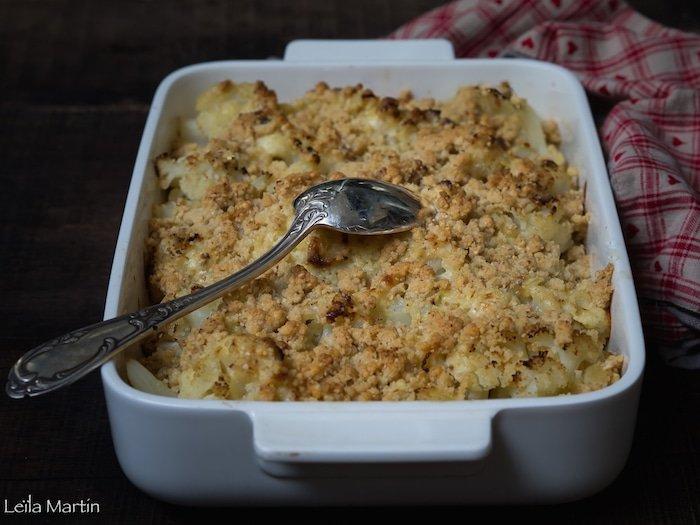 recette de gratin de chou-fleur au bleu et son streusel au bleu des Vosges
