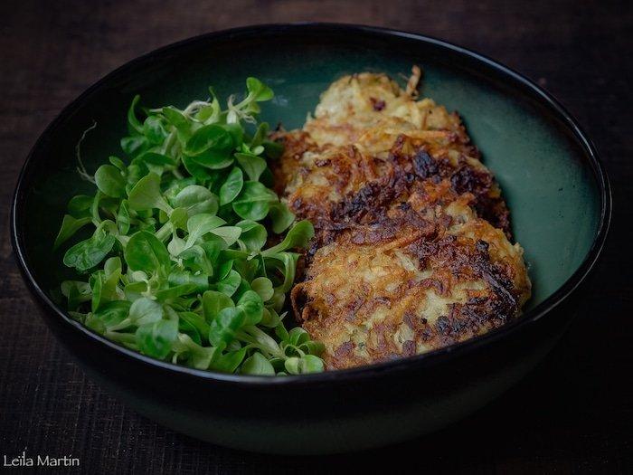 recette de galettes de pommes de terre, choucroute et lardons