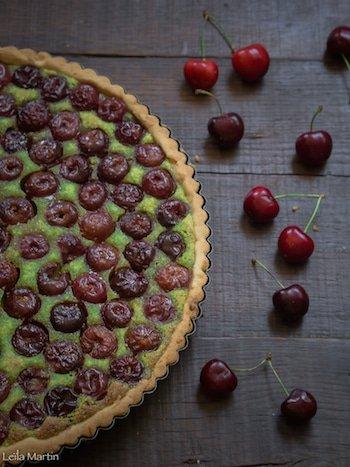 recette de tarte aux cerises et crème de pistache au kirsch