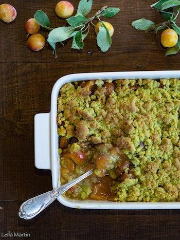 recette de crumble de mirabelles aux pistaches