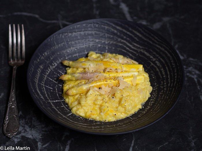 recette de risotto aux asperges blanches d'Alsace et au safran