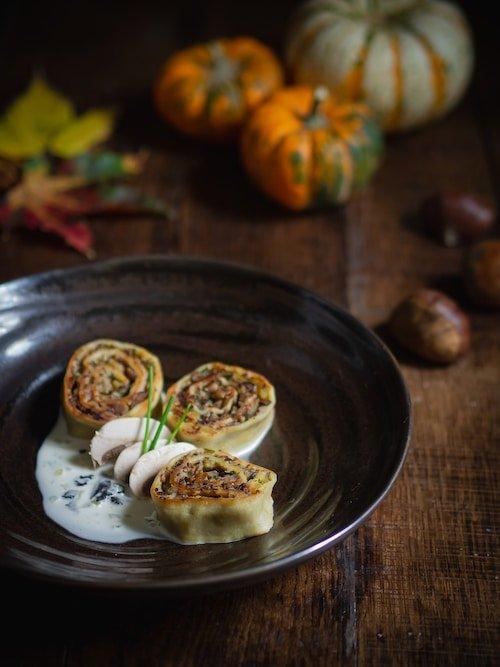 Recette de Fleischschnacka de champignons et butternut sauce crémeuse à la truffe